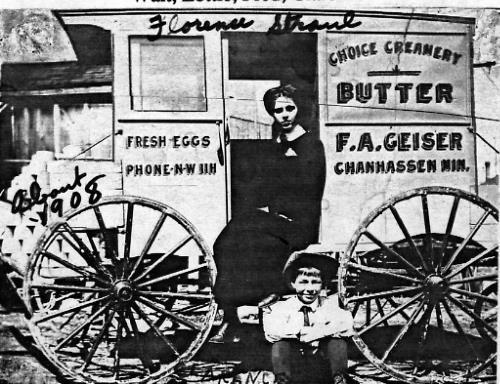 Clarence & Florence (Strand) Geiser's Delivery Wagon - circa 1908