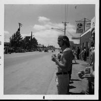 Donald Rettler awaiting the 1972 Frontier Days parade on main street.